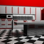 Modern kitchen interior in white and red color, rendering
